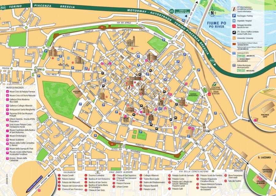 Piacenza, Mappa Turistica